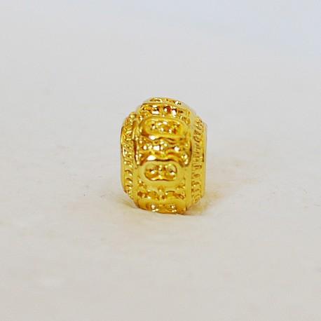 Aukso spalvos karoliukas su ornamentais